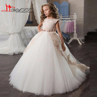 Princess Ball Gown Flower Girl Dress for Weddings 2017 Lace Appliques Tulle Long Train Girls Communion Dress Formal Gowns