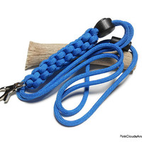 Blue Paracord Lanyard Id for Men Unisex Military Grade 7 Strand 550 Cord Handmade Cord Adjuster Breakaway Customize Colors