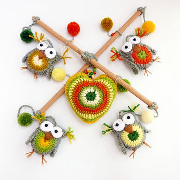 baby mobile with owls / crochet baby mobile / crib mobile / nursery decor / kids room / gray yellow green orange
