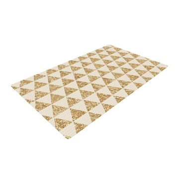 "Nika Martinez ""Glitter Triangles in Gold"" Tan Yellow Woven Area Rug"