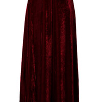 Velvet Pleated Maxi Skirt in Wine Red Red