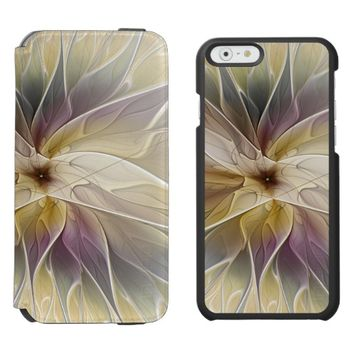Floral Fantasy Gold Aubergine Abstract Fractal Art iPhone 6/6s Wallet Case