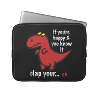 Dinosaur Can't Clap Joke Laptop Sleeves from Zazzle.com