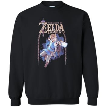 Nintendo Legend Of Zelda Breath Of The Wild Arch G180 Gildan Crewneck Pullover Sweatshirt  8 oz.