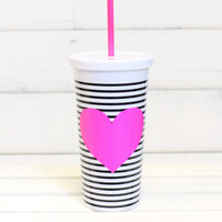 Sip Sip Tumbler with Straw {Heart + Stripes}