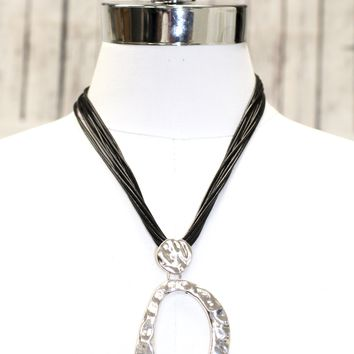 Multi Rope Large Hammered Oval Necklace