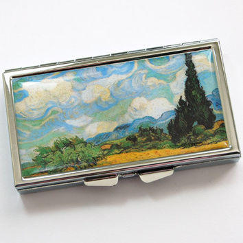 Van Gogh Pill Case, Pill Case, Pill box, Van Gogh, 7 day, 7 sections, Fine Art Pill Case, Wheatfield with Cypresses, Vincent Van Gogh (3864)