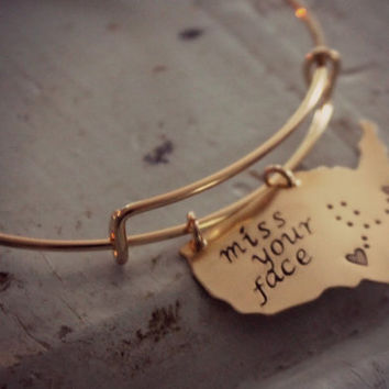 State Bracelet, Long Distance Relationship Bracelet, Best Friends Gift, Going Away Gift, Miss Your Face, State Jewelry