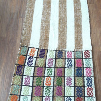 Anatolia Turkish Sack Rug 23''x68'' Retro Hand Woven Kelim Kilim Handmade Old Turkish Rug