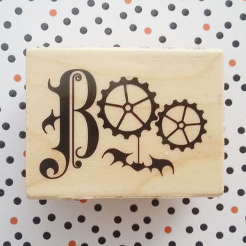 Boo stamp, wooden, halloween stamp, steampunk, inkadinkado, cool stamp, scrapbooking, envelope stamp, card stamp, unique stamp, supplies