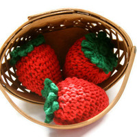 Strawberries set of 3 large crocheted in by Loopedwithlove4U
