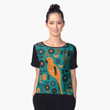 'Parrot and flowers' Women's Chiffon Top by cocodes