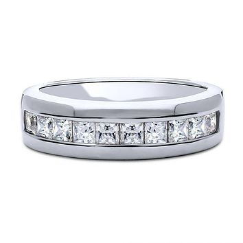A Perfect 2.65TCW Princess Cut Lab Diamond Wedding Band Half Eternity Ring