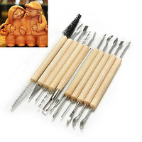 11 Pcs Clay Carved Tools Pottery Ceramic Modeling Sculpt Tool Wood Handle Set HC