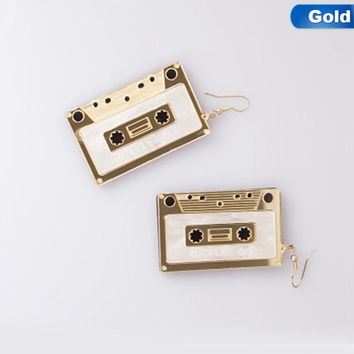 Hot New Fashion Trendy Punk Vintage Jewelry Personality Night Club Acrylic Tape Earrings  Stereo Tape ear stud For Women