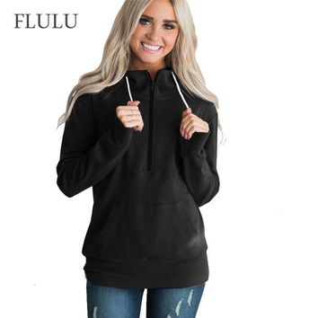 FLULU Winter Hoodie Women Elegant Solid Long Sleeve Ladies Sweatshirts Casual Streetwear Kpop Sweatshirt Mujer Bts