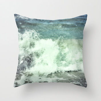 Pillow Cover, Ocean Blue Beach Surf Decor, Throw Pillow, Crashing Waves, Sea Foam Green Nautical Bungalow Couch Bed Living 16x16 18x18 20x20