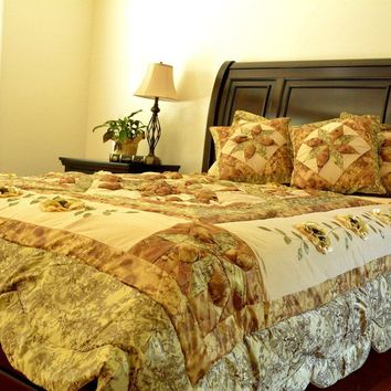 Floral Sun-Crossed Lovers Luxurious Embellished Sandy Beige Green Coverlet Bedspread Comforter Set (BM6118L)