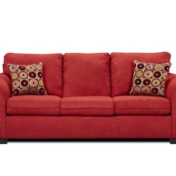 Simmons 1640 Flat Suede Red Microfiber Sofa and Loveseat