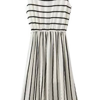 White Striped Sleeveless Midi Dress
