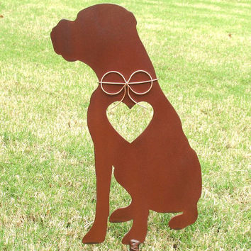 Boxer Dog Metal Garden Stake - Metal Yard Art - Metal Garden Art - Pet Memorial 4
