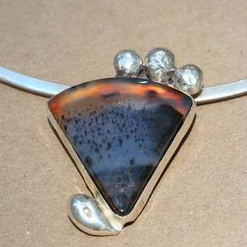 OOAK Reticulated Sterling Silver Pendant with by LesleyPridgen