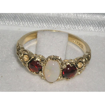 Solid 9K 9ct Yellow Gold Genuine Natural Fiery White Opal & Cabochon Garnet Ring, English Vintage Style Trilogy Ring - Customize:10K,14K,18K