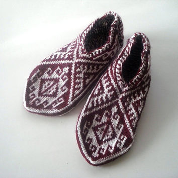 Knitting Pattern For Turkish Slippers : Best Mens Knitted Slipper Socks Products on Wanelo