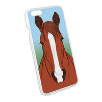 Horse Chestnut White Strip Snap On Hard Protective Case for Apple iPhone 6
