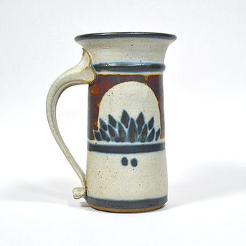 Studio pottery lotus mug - vintage handmade stoneware mug, tall pottery tankard, hand thrown cup, unique coffee & tea {cream navy rust} 6x3