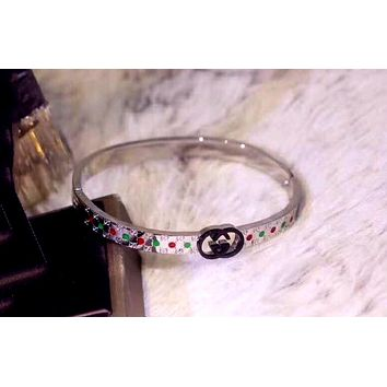 GUCCI Tide brand diamonds for men and women models wild fashion bracelet silver