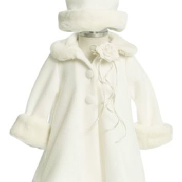 Ivory Fleece & Fur Trim Dress Coat  with Matching Fur Trimmed Hat (Baby Girls)