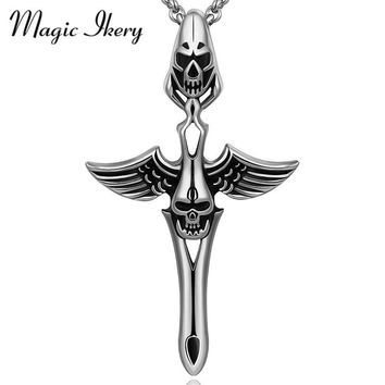 Magic Ikery Titanium Jewelry Mens Necklaces Stainless Steel Skull Design Pendant Necklace For Men Fashion Charm Jewelry