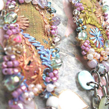 Pastel Embroidery earrings Antique Embroidered by AllThingsPretty
