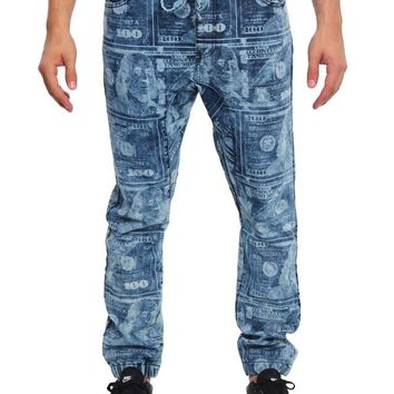 Men's Money Print Denim Jogger Pants JG863 - F10F