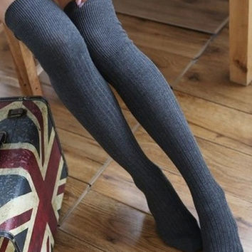 Cotton Womens Knit Over Knee Stripped Thigh Stockings High Socks Tights = 5987736705
