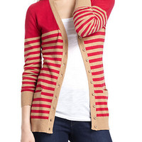 Striated Boyfriend Cardigan