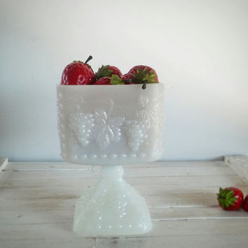 Vintage Milk Glass Candy Compote Grape Pattern, Hocking Milk Glass Vase Grape Pattern
