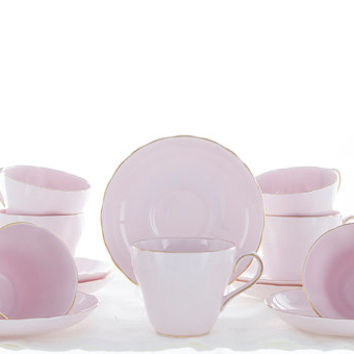 Pink Cups, Tuscan Tea Cups and Saucers, Vintage Fine Bone China, English Pastel Pink Cups with Gold Trim