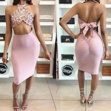 Rose Gold Patchwork Sequin Halter Neck Backless Two Piece Midi Dress