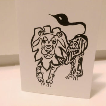 Lion Card Arabic Calligraphy Original any occasion set (blank inside, folded card)
