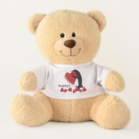 I Love You More! - Penguin and Red Hearts Name Teddy Bear