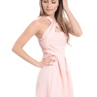 Powder Pink Crisscross Cutout Dress | $14.99 | Cheap Trendy Club and Party Dresses Chic Discount Fas