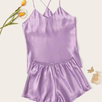 Satin Cami Top With Shorts PJ Set