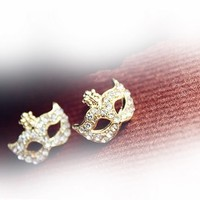 lovely mask rivet flower ear stud