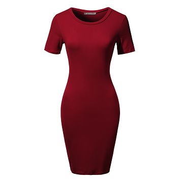 LE3NO Womens Stretchy Fitted Short Sleeve Basic Bodycon Midi Dress