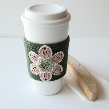 Coffee Cozy, Cup Cozy, Crocheted, Flower applique, Sleeve, Hot Cold Drink, Peach flower, sage center, trimmed in cream, forest green sleeve