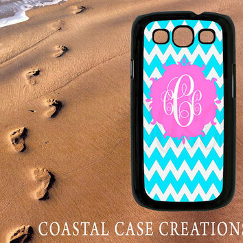 Samsung Galaxy S3 Hard Plastic or Rubber Cell Phone Case Cover Original Blue Chevron Pink Monogram Design