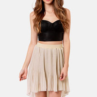 Black Sheep Zinnia Beige Pleated High-Low Skirt