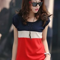 2014 summer chiffon short-sleeve T-shirt women's o-neck plus patchwork blouse tops free shipping